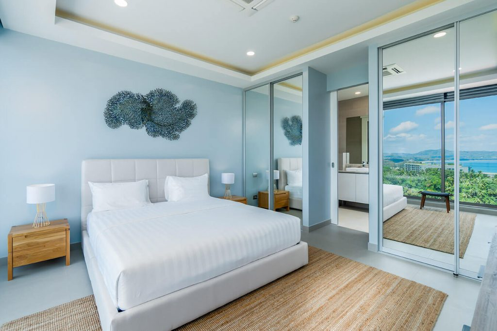 Bedroom interior in blue color